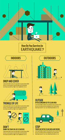 Earthquake escape infographic. how do you servive an earthquake. flat thin line design. vector illustration