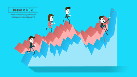 charactor: Business people on the graph. stairway to progress. lat infographic elements, banner, book  annual report, magazine design. Illustration