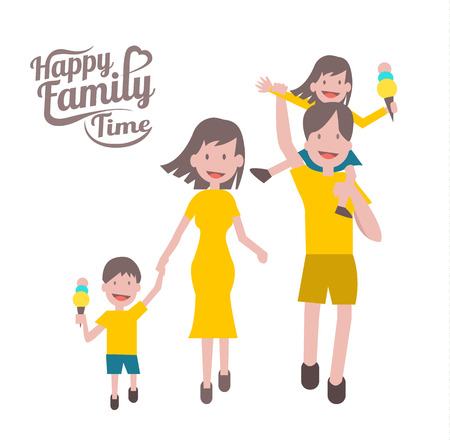 four: Happy family time. parent and children with cheerful smile. flat character design and elements. Illustration