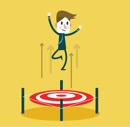 businessman jumping: Businessman jumping up by Bullseye. Concept of target market, audience, group, consumer,goal, success. flat character design and elements.