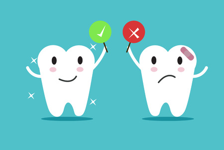grinding teeth: tooth with True and False sign. flat character design.