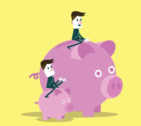 oppose: business people with them piggy bank. flat character design and elements. Illustration