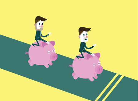 oppose: business people riding them piggy bank running. competition concept.  flat character design and elements.