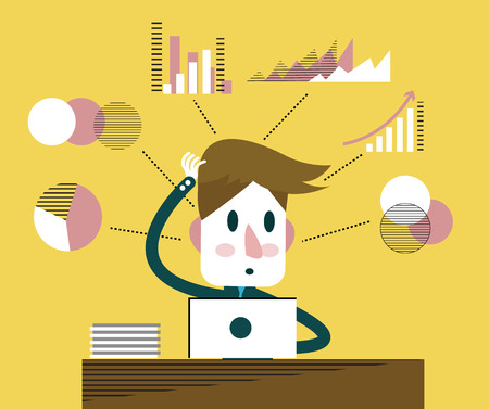 arms behind head: Businessman thinking about strategy development process of the business. flat character design and elements. Illustration