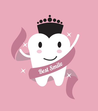 Best smile. tooth with a crown. flat design illustration. Illustration