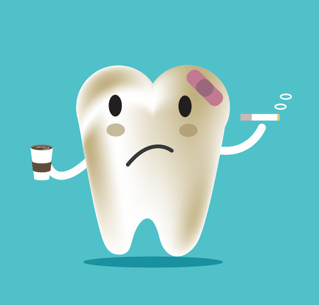 whitening: unhealthy tooth with coffee and smoke, great for dental care and teeth whitening and bleaching concept.