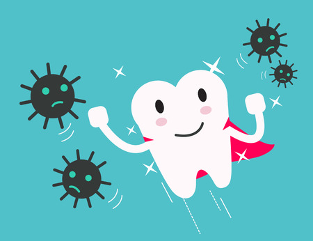 bacteria tooth: superhero healthy tooth attack bacteria and germ. flat design illustration