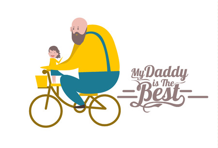 girl bike: My daddy is the Best. Happy fathers day. Father and daughter on bike. flat character design and elements.