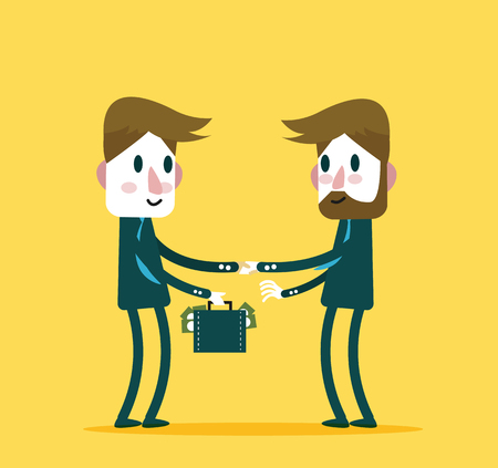 big deal: Business people check hand with a lot of money. Concept of big deal, success, partnership, growth business and corruption. flat character design and elements.
