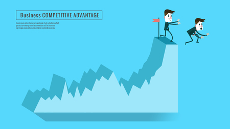 stock price losses: businessman push competitor down from top graph. Concept of competition, risk of investment . flat character design and elements. Illustration