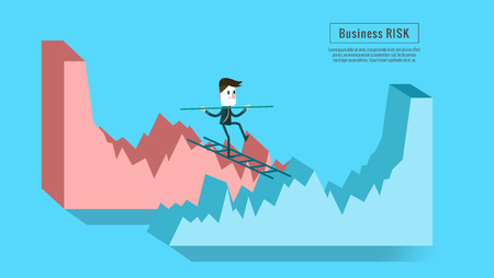 cliff edge: Businessman crossing from down graph to growth graph. Concept of risk of investment. flat character design and elements.
