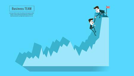 asesor financiero o mentor de negocios pareja ayuda se unen para crecimiento de los beneficios. Concepto de trabajo en equipo, la amistad, el éxito y el objetivo. diseño de personajes planos y elementos. Ilustración de vector