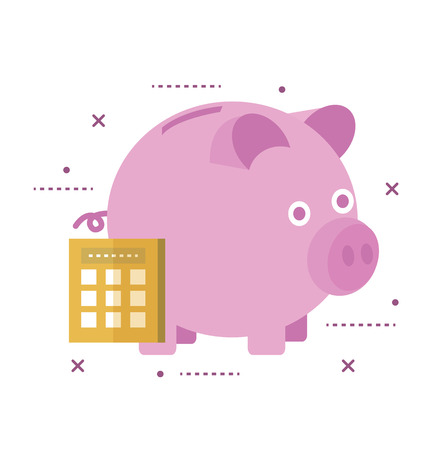Piggy bank secured with lock. Online banking concept.