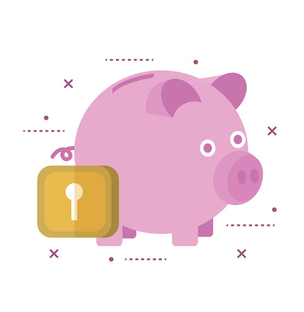 economical: Piggy bank secured with lock. flat line icon design illustration