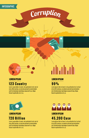charitable: World Corruption infographic. flat design element. Illustration