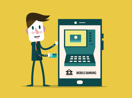 technology transaction: Money transaction, technology, business, mobile banking and mobile payment. flat character design. vector illustration Illustration