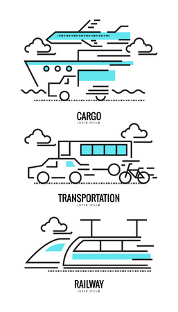 railway transportation: Cargo, railway and transportation concepts. flat thin line design. vector illustration