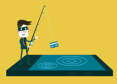 data theft: Thief Hacker steal your data credit card and money from smartphone. flat character design. vector illustration