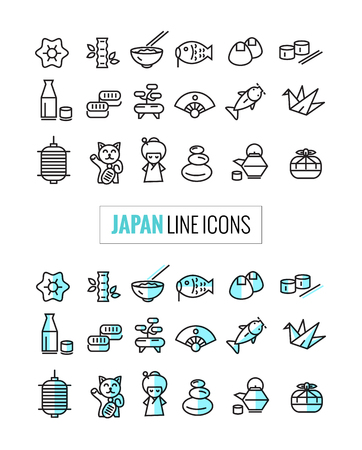 asian woman: Japan 2 style icons Set, flat thin line and mono icons style. vector