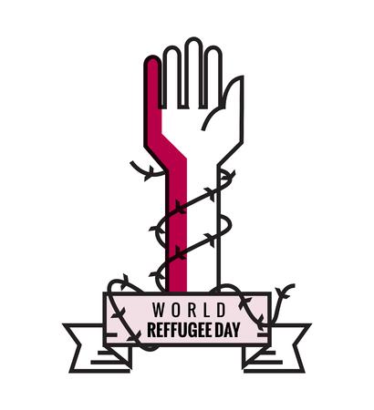 Weltflüchtlingstag. Hand mit Stacheldraht. flache Linie Design. Vektor-Illustration