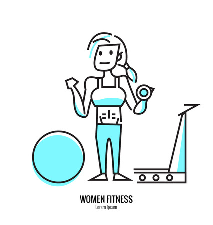 perfect fit: Women lifting a dumbbell, barbell with fitness attire inside the gym. flat line design. vector illustration