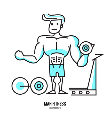 attire: Man lifting a dumbbell, barbell with fitness attire inside the gym. flat line design. vector illustration
