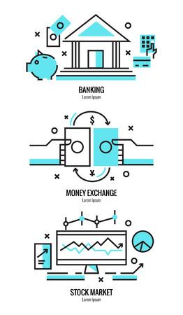 Dünne Linie flache Gestaltung von Online-Banking-Dienstleistungen, Geldwechsel, Aktienmarktforschungsanalysen, Geld zu investieren Elemente. Moderne Vektor-Illustration Konzept, isoliert auf weißem Hintergrund.
