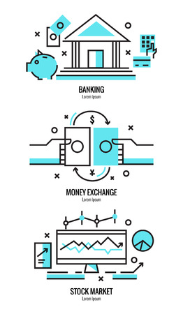 investing: Thin line flat design of online banking services, money exchange, stock market research analysis, money investing elements . Modern vector illustration concept, isolated on white background.