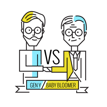 generation y: baby boomers VS generation y. Business human resource and teamwork. flat line character design. vector illustration