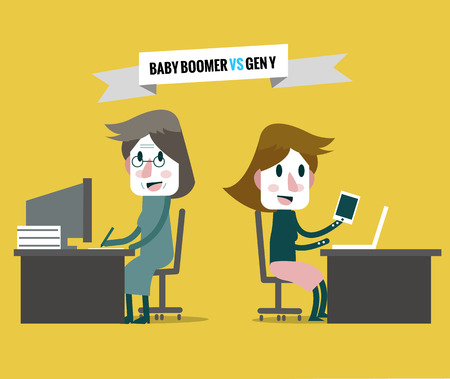 boomers: baby boomers VS generation y. Business human resource. flat character design. vector illustration