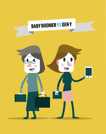generation y: baby boomers VS generation y. Business human resource. flat character design. vector illustration