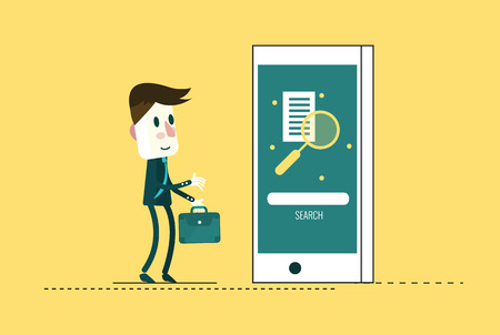 business education: businessman searching on mobile phone. education and business technology concept. flat design elements vector illustration