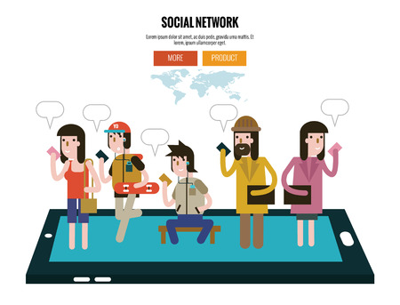 character design: Group people Holding Cell Smartphone. Social Network Communication Concept. website banner, poster, magazine. flat character design. Vector Illustration