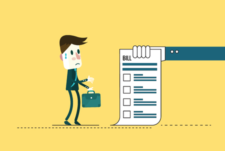 serious business: Shocked businessman looking at his bills.  flat character design. vector illustration Illustration