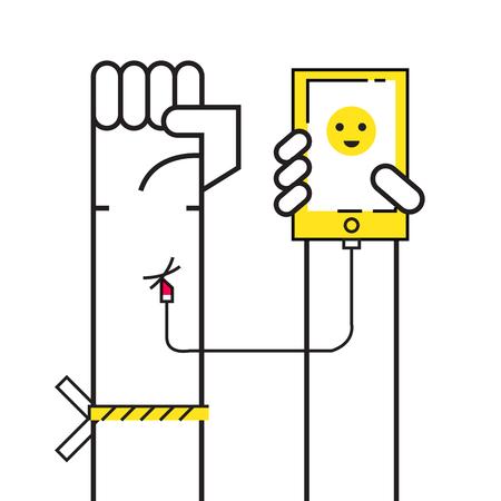 obsessed: Smartphone Addiction concept.  Connect smartphone to hand blood. flat design elements. vector illustration Illustration