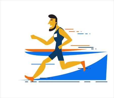 running track: Professional man running on the running track. flat character design. vector illustration Illustration