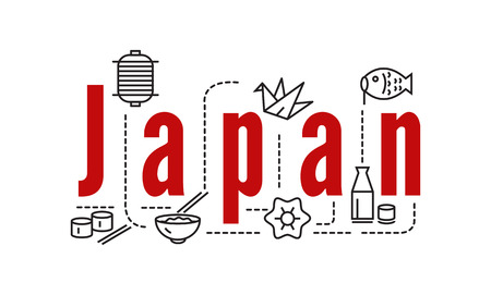 Japan typography and icons. flat line elements. vector
