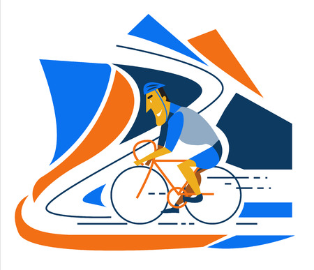 road bike: Cyclist riding a bike on road. flat character design. vector illustration