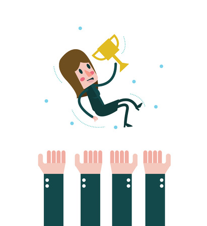 victor: Celebration Business woman holding trophy. Worker woman successful. flat design elements. vector illustration
