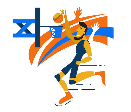 dunking: Basketball Player scoring a layup basket during a professional basketball game. flat character design. vector illustration