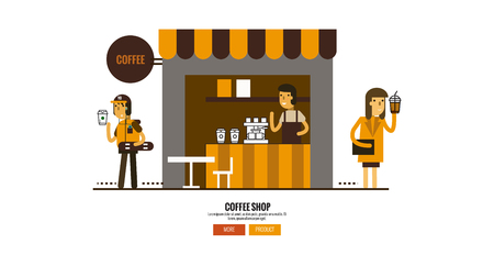blind girl: Coffee shop on the street with customers. web banner, poster Flat design elements.  vector illustration. Illustration