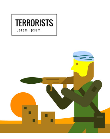 weapons: Terrorist with weapons. flat character vector illustration Illustration