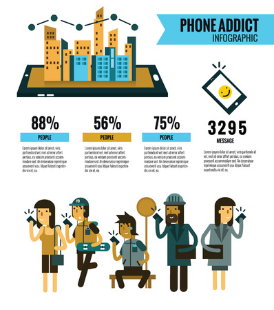 addict: Smartphone Addict info graphic. people Holding Cell Smartphone. Social Network Communication Concept. website banner, poster, magazine. flat character and elements design. Vector Illustration Illustration