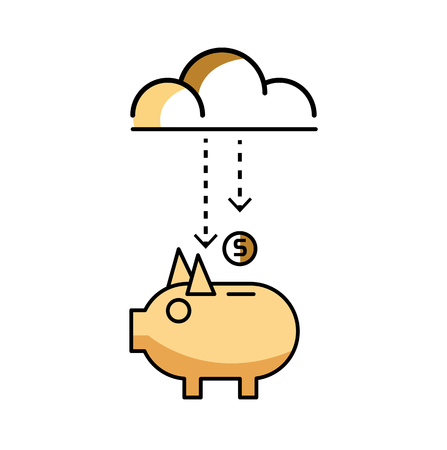 Piggy bank with stock of money and clouds. flat line design elements. Illustration