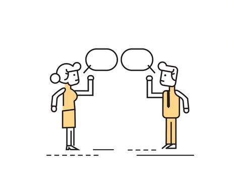 Twee mensen uit het bedrijfsleven praten en bespreken. vlakke lijn character design.