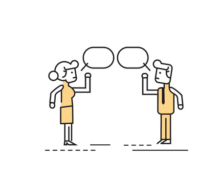 two people meeting: Two business people talking and discussing. flat line character design.