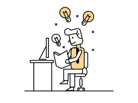 book concept: businessman open book to find idea, idea concept. flat line design elements.