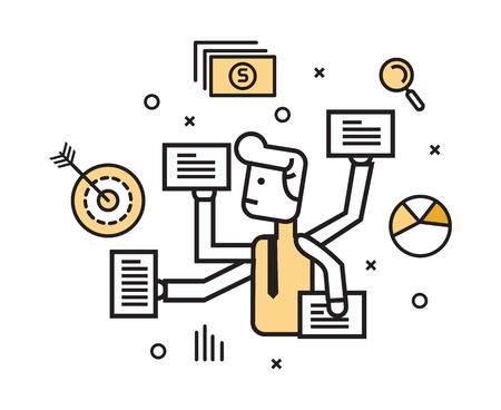 mucho dinero: Hombre de negocios con el trabajo de múltiples tareas a la vez. elementos de diseño de línea plana.
