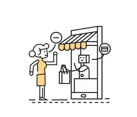robot: zakupy online i konsumpcjonizm koncepcja. Komórka zakupy spożywcze e-commerce sklep internetowy. płaska konstrukcja postaci linii.
