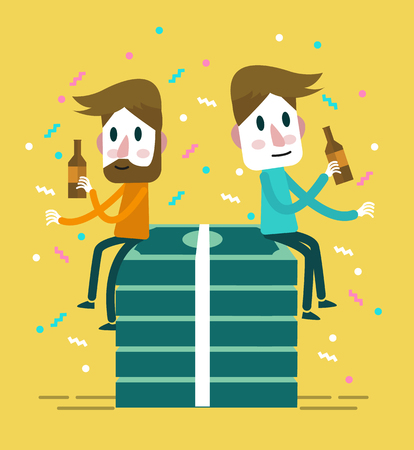 Two happy businessman drink and sits in big pack of dollars. flat design elements. Illustration